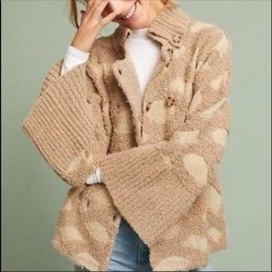 Anthropologie Intarsia Spotted Cardigan